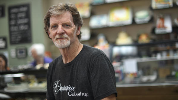 Baker Jack Phillips, owner of Masterpiece Cakeshop, manages his shop in Lakewood, Colo., on Wednesday. He's suing state officials in a case involving his refusal to make a cake celebrating gender transition.