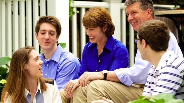 Gwen Graham smiles alongside her husband and children in this photo from her campaign website.