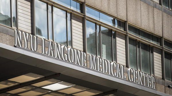 The New York University Langone Medical Center is seen in midtown Manhattan in 2015. The university's school of medicine says it will make tuition free for all students.