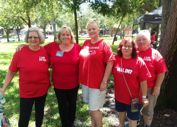 Teachers, Ann Preus, Lorena Grizzle, Susan Spaulding, and paraprofessionals, Jeanette Vega, and Stephena Vergara came to Williams Park to advocate for teachers ahead of Florida's August primary election.