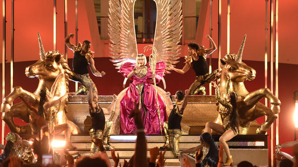 Nicki Minaj performs at the 2018 MTV Video Music Awards at The Oculus in New York City. (This photo was taken Sunday, from a pre-taped performance.)