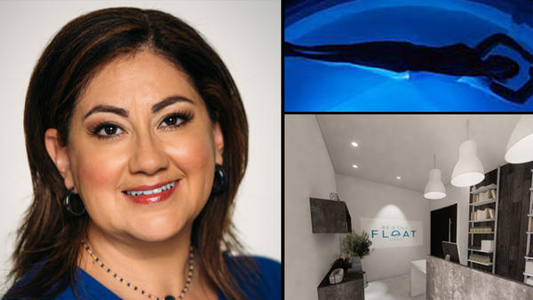 Left: Gina Schimpff, Jacksonville Be Still Foat Studio co-owner. Top right: An example of float therapy. Bottom right: A rendering of the Jacksonville Be Still Float Studio.