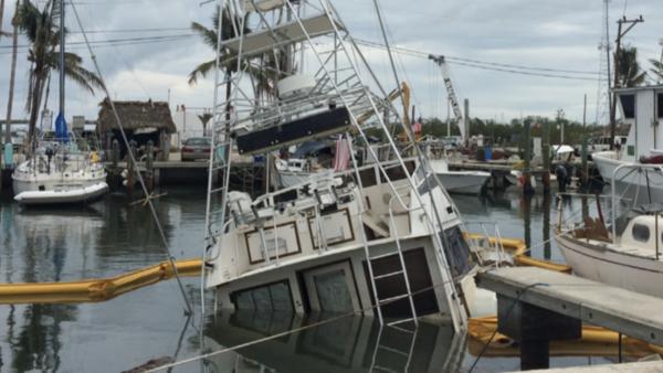 A partially sunken charterboat in Islamorada, five weeks after Hurricane Irma.