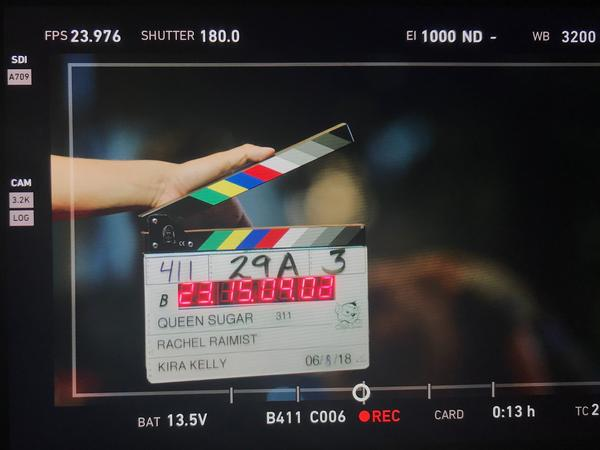 A clapperboard on the set of 'Queen Sugar,' a show created by Ava DuVernay on the Oprah Winfrey Network, which exclusively hires female directors.