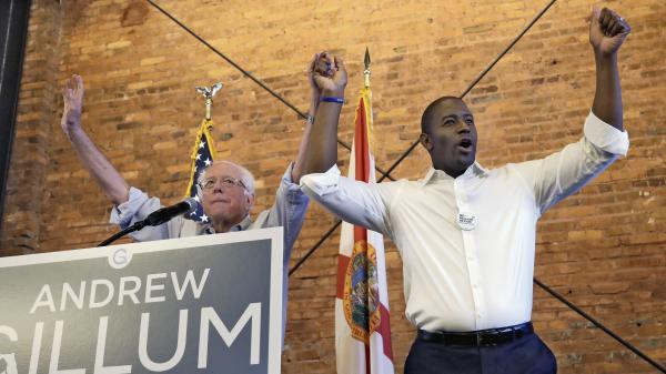 Florida Democratic gubernatorial candidate Andrew Gillum campaigns with Sen. Bernie Sanders in Tampa on Aug. 17. Gillum, the mayor of Tallahassee, is a progressive favorite who upset former Rep. Gwen Graham to win the Democratic primary on Tuesday.