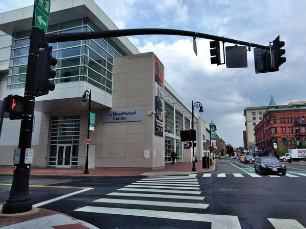 On Main Street in Springfield, Massachusetts, MGM's resort casino is just south of the MassMutual Center where Stevie Wonder performs September 1.
