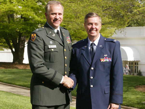 Rep. Steve Buyer, R-Ind. (left), and Graham outside the White House after they were both promoted to the rank of colonel by President George W. Bush in 2004.
