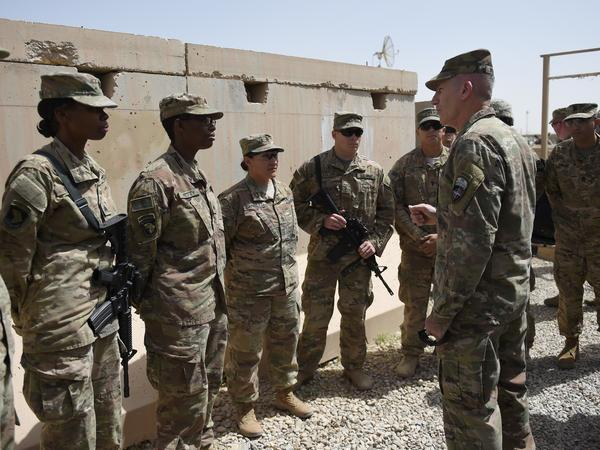 Nicholson prepared for a handover ceremony in April at Leatherneck Camp in Lashkar Gah, as U.S. Marines returned to Helmand Province.