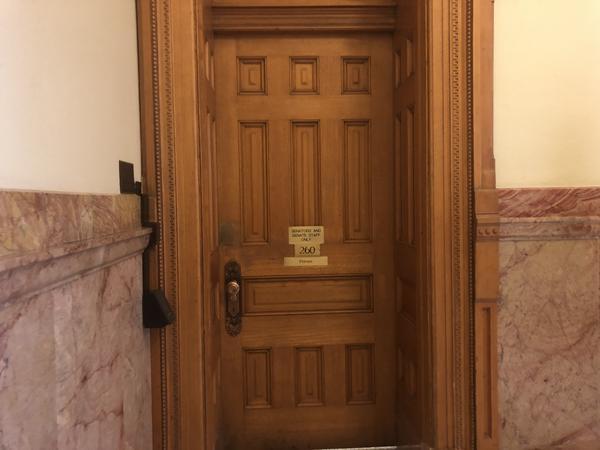 "Women's bathroom for Senate legislators and staff: ""Senators and Senate Staff Only, 260, Private."""
