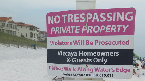 Santa Rosa Beach in Walton County, Fla., with a privately owned section that is part of Vizcaya, a residential development.