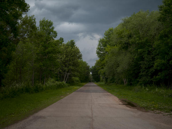 This road was lined with homes before the town of Odanah, Wis. moved to higher ground.