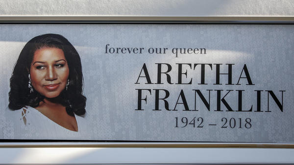 Aretha Franklin's homegoing service was held at Greater Grace Temple in Detroit. This sign sat on a hearse outside of the church.