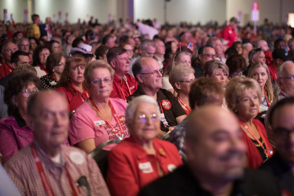 Republicans fill the San Antonio Convention Center for the Texas Republican Convention in June.
