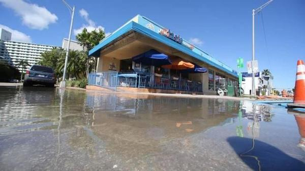 Flooding at Alton Road and Ninth Street on Miami Beach.