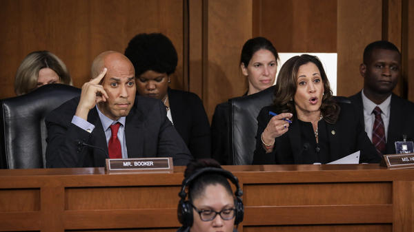 Democratic Sens. Cory Booker of New Jersey and Kamala Harris of California both scored points with the progressive base during the Kavanaugh hearings.