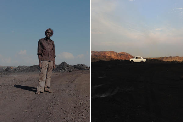 """Left: A contractual laborer at one of the coal mines in Jharia. """"I'm trying to show the worker in a powerful way,"""" says photographer Ronny Sen.<em> </em>Right: A white Ambassador car, which Sen calls """"the symbol of Indian bureaucracy,"""" is a signal to illegal coal pickers to run away from the mines they scavenge."""