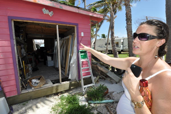 Stephens points toward what was the office of her White Sands Inn. Hurricane Irma severely damaged the hotel. Stephens hopes to have a few rooms available in the fall.