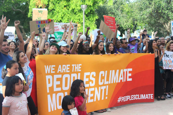 Hundreds of South Florida activists and community stakeholders gathered in Bayfront Park to rally for Miami climate resiliency on Saturday, September 8, 2018.