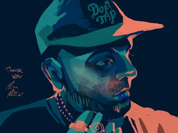 An illustration of Mac Miller, drawn during his Tiny Desk Concert performance in Aug. 2018.