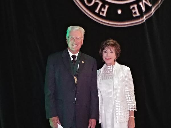 Dr. Phillip Furman, a 1972 USF masters graduate, poses with USF System President Judy Genshaft at the 2018 Florida Inventors Hall of Fame Induction Ceremony in Tampa Sept. 7.