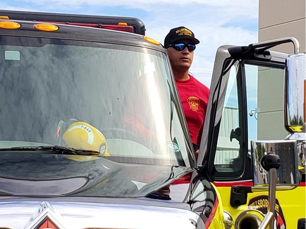 Hillsborough Fire Rescue Trainer Prudy Vallejo loads up.