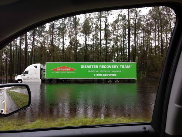A disaster recovery 18-wheeler got stranded in high water on US 74 in Columbus County Sunday.