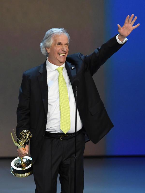 Henry Winkler accepts his first-ever Primetime Emmy award.