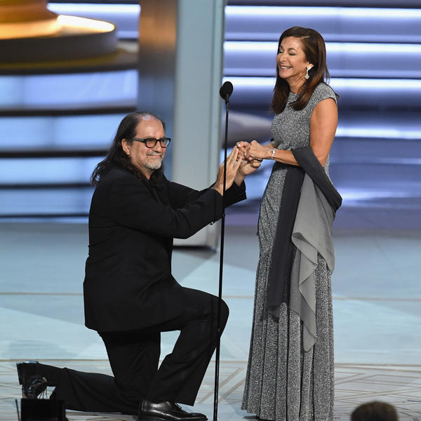 Glenn Weiss, winner of the outstanding directing for a variety special award, proposes marriage to Jan Svendsen.