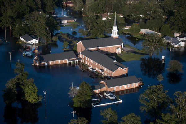 A church is surrounded by floodwaters from Hurricane Florence on Monday, in Conway, S.C.
