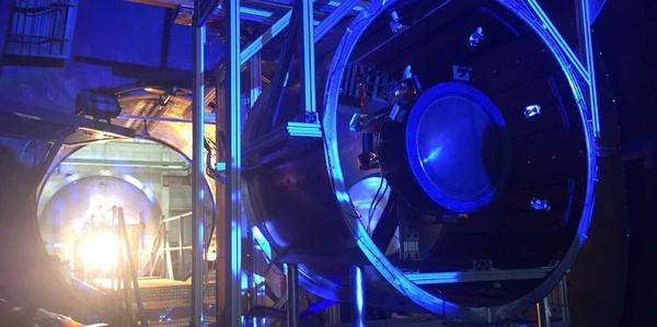 At NASA Glenn this 72-ft  vacuum chamber is being readied for an  ion thruster propulsion test.