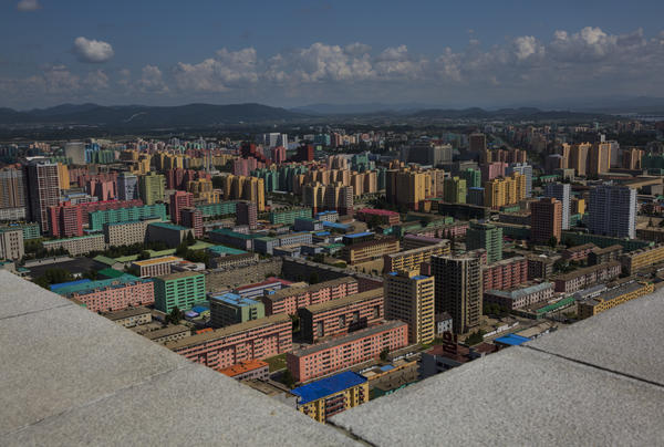 The North Korean capital Pyongyang viewed from the top of the torch-tipped Juche Tower.