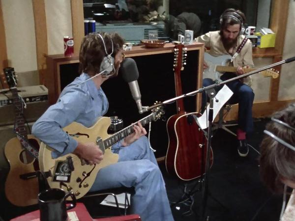 "John Lennon and George Harrison in studio, recording Lennon's ""How Do You Sleep?"""