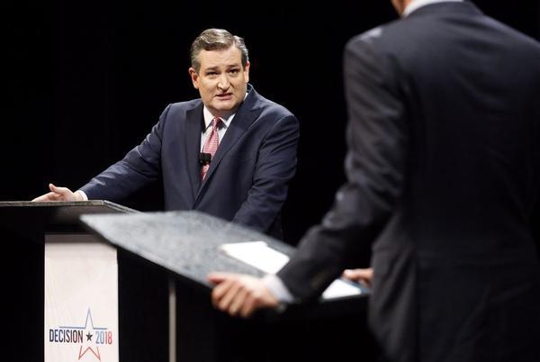 U.S. Sen. Ted Cruz, R-TX, addresses U.S. Rep. Beto O'Rourke, D-El Paso, during Friday's debate in Dallas.