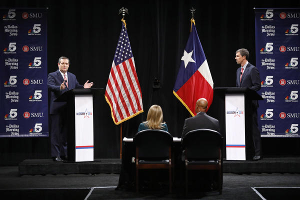 Republican U.S. Sen. Ted Cruz, left, and Democratic U.S. Rep. Beto O'Rourke, right, take part in their first debate for the Texas U.S. Senate in Dallas, Friday.