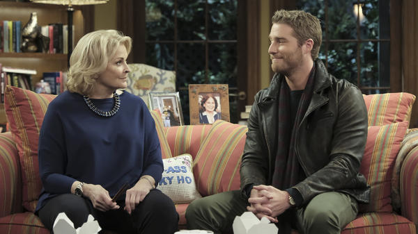 Murphy Brown (Candice Bergen) and her son, Avery (Jake McDorman).