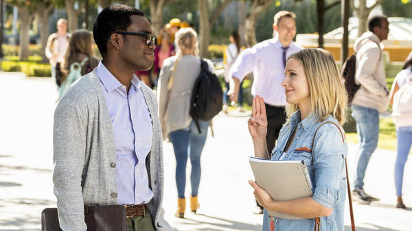 Chidi (William Jackson Harper) and Eleanor (Kristen Bell) are still pals as the third season of <em>The Good Place </em>gets underway.