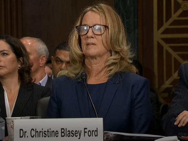 Dr. Christine Blasey Ford testifies before the Senate Judiciary Committee.