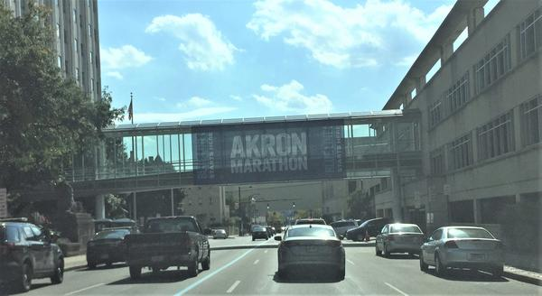 Runners will follow the blue line around Akron on Saturday, Sept. 29 for the 16th Akron Marathon.