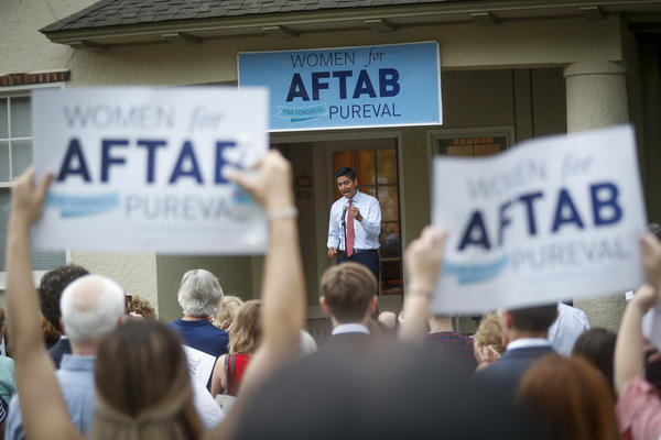 "Hamilton County Clerk of Courts Aftab Pureval speaks during the ""Women for Aftab"" advocacy group kickoff event in support of Pureval's 1st House District challenge to veteran Republican Rep. Steve Chabot in Cincinnati."