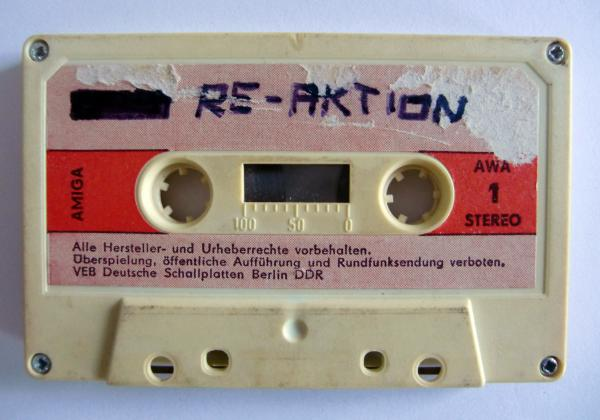 "A cassette from the state-controlled record label Amiga, taped over by the band Re-Aktion. <em><a href=""https://www.youtube.com/watch?v=sRt2h1ZD0Xc"">Hear this tape here</a></em>."