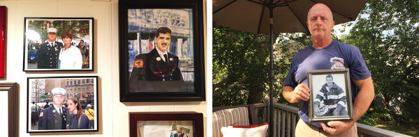 (Left) A sister of FDNY Battalion Chief Orio Palmer, who was killed on Sept. 11, keeps drawings of Palmer along with family photos in her basement. (Right) Retired FDNY Lt. Jim McCaffrey holds a portrait of Palmer, his late brother-in-law.