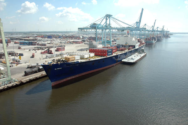 A cargo ship is pictured at JAXPORT. The port authority is named in a civil-rights lawsuit.