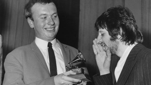 Geoff Emerick, left, with Ringo Starr in 1968. Emerick had just won a Grammy for his work on <em>Sgt. Pepper's Lonely Hearts Club Band</em>.