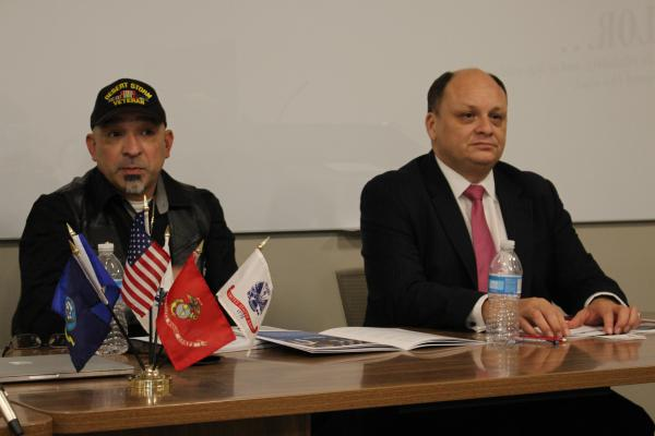 Gibby Rodriguez, from left, of LULAC Texas and Octavio Hinojosa of Veterans for New Americans