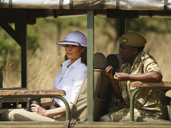 First lady Melania Trump looks out over Nairobi National Park in Nairobi, Kenya. Critics say the pith helmet she is wearing is a symbol of colonialist attitudes.