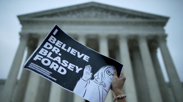 Protesters gather on the steps of the U.S. Supreme Court building after over running police barricades while demonstrating the confirmation of Associate Justice Brett Kavanaugh Saturday in Washington, D.C.