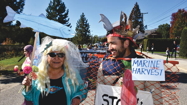 Participants in Canada's Wild Salmon Caravan, like Secwepemc matriarch Bernice Heather and hydro geologist Ricardo Segovia, are concerned about the effects of open net salmon farms, pollution, and dams.