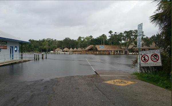 A boat ramp in Homosassa in Citrus County takes on water during Hurricane Michael's passing Wednesday morning.