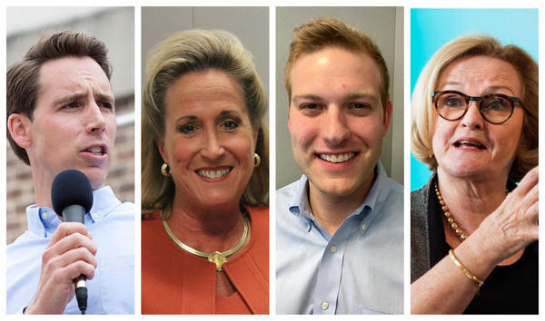 Voter turnout for Missouri's 2nd District contest between Republican Ann Wagner (center left) and Democrat Cort VanOstran (center right) could tip the balance in the Senate race between Republican Josh Hawley (left) and Democratic Sen. Claire McCaskill.