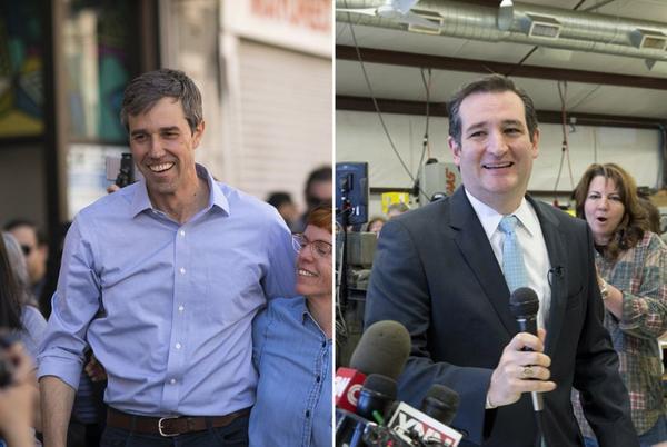 Left: U.S. Rep. Beto O'Rourke campaigning in El Paso in 2018; right: Ted Cruz campaigning for the U.S. Senate in 2012.